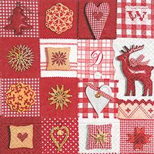 60785 PATCHWORK RED § WHITE 33X33 - Foto0
