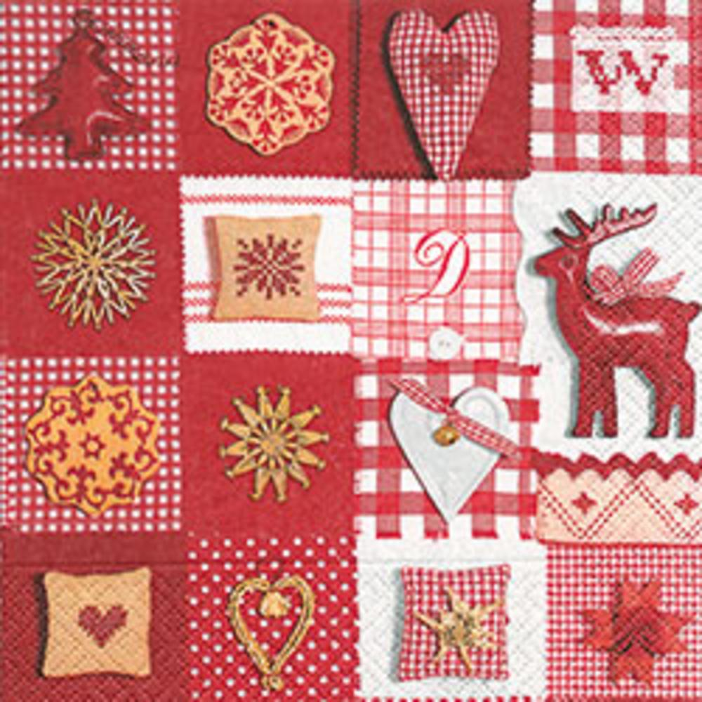 60785 PATCHWORK RED § WHITE 33X33